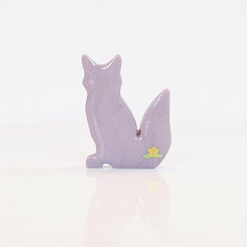Lilac Fox Figurine with Yellow Flowers
