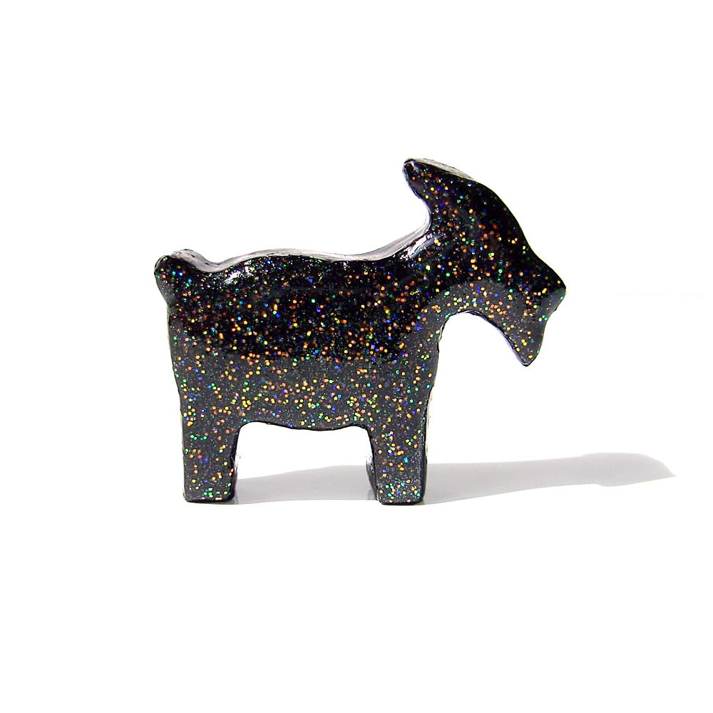 Black Goat Figurine with Rainbow Glitter