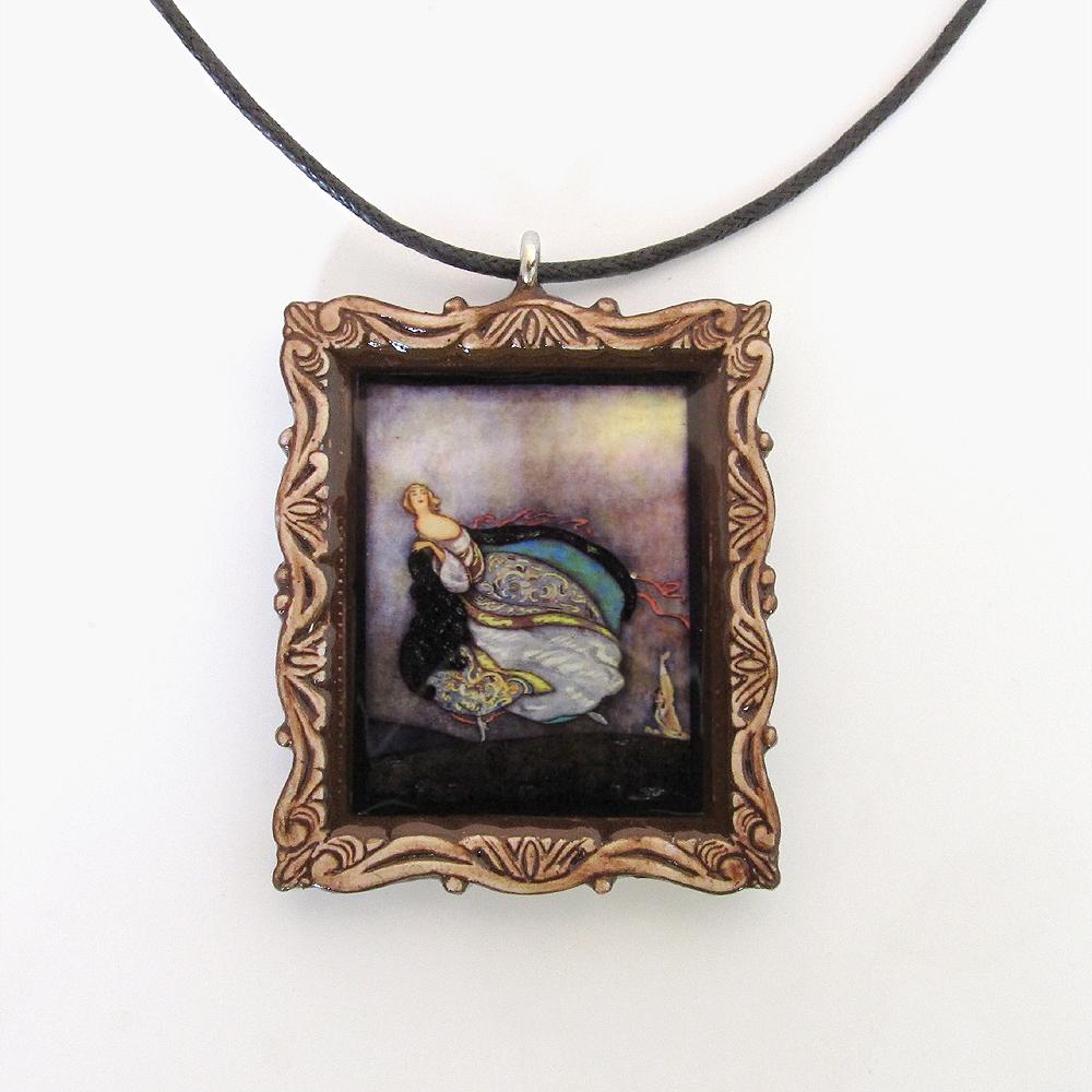 Cinderella Fairy Tale Pendant and Cord Necklace