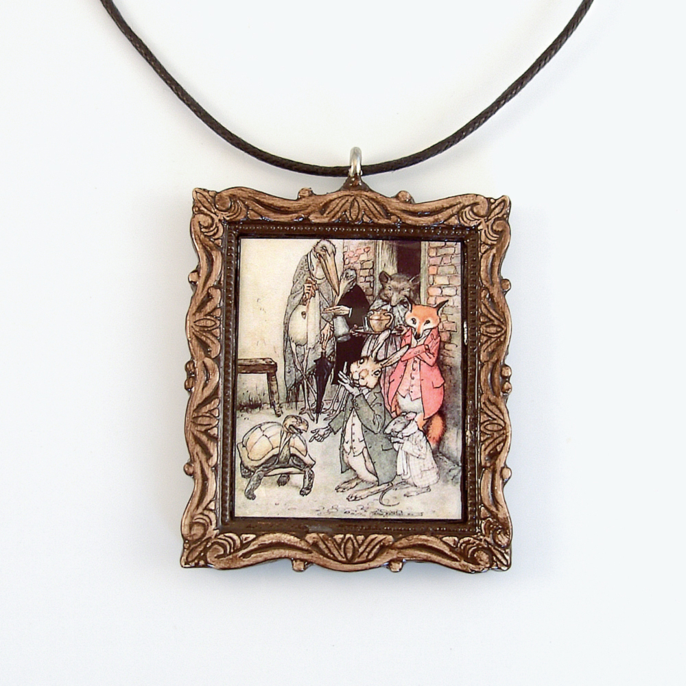 The Tortoise and the Hare Pendant and Cord Necklace